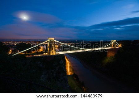 Bristol Clifton Bridge at dusk - stock photo