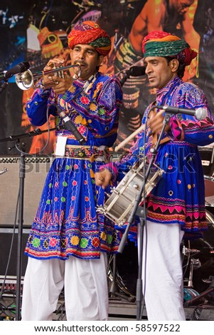 BRISTOL, ENGLAND - JULY 31:  Members of the Jaipur Kawa brass band at the Harbour Festival in Bristol, England on July 31, 2010.