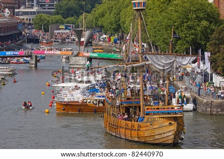 BRISTOL, ENGLAND - JULY 31: The replica fifteenth century wooden ship The Matthew at the Harbour Festival in Bristol, England on July 31, 2011. The event played host to a record 280,000 spectators