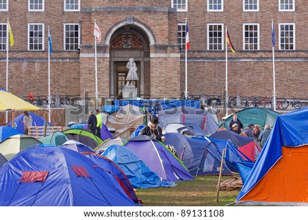 BRISTOL, ENGLAND - NOVEMBER 18: Occupy Bristol camp below Council offices in Bristol, England on November 18, 2011. Part of an international protest, the camp is the largest in the UK outside London