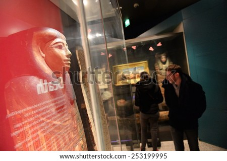 BRISTOL - JAN 11: View of the Egyptology section at Bristol Museum on Jan 11, 2015 in Bristol, UK. Bristol Museum has exhibits in fields such as history, culture, science, art and natural history. - stock photo