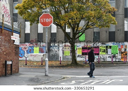 BRISTOL - OCT 22: View of graffiti on a building on an inner city street on Oct 22, 2015 in Bristol, UK. Bristol is renowned for its vibrant street art scene. - stock photo