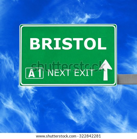 BRISTOL road sign against clear blue sky