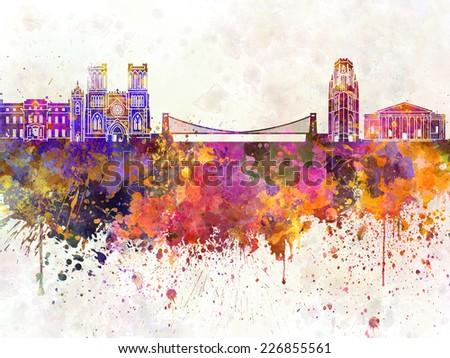 Bristol skyline in watercolor background - stock photo