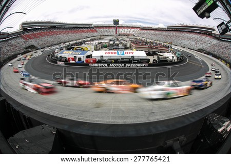 Bristol, TN - Apr 18, 2015:  The NASCAR Xfinity Series teams take to the track for the Drive to Stop Diabetes 300 at Bristol Motor Speedway in Bristol, TN. - stock photo