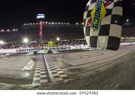 BRISTOL, TN - AUG 21:  Kyle Busch makes history winning all three races in a single weekend, winning the Irwin Tools Night Race race at the Bristol Motor Speedway in Bristol, TN on Aug 21, 2010.