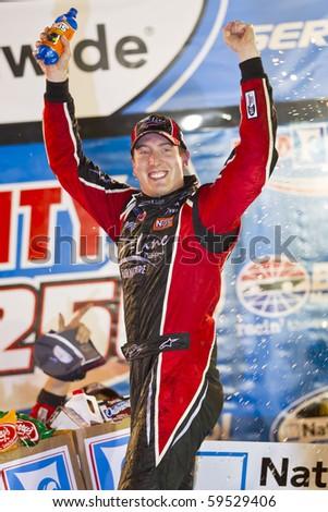 BRISTOL, TN - AUG 20:  Kyle Busch wins the Food City 250 race at Bristol Motor Speedway in Bristol, TN on Aug 20, 2010. - stock photo