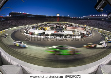 BRISTOL, TN - AUG 20:  The NASCAR Nationwide teams take to the track for the Food City 250 race at Bristol Motor Speedway in Bristol, TN on Aug 20, 2010. - stock photo