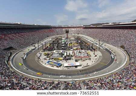 BRISTOL, TN - MAR 20:  The NASCAR Sprint Cup teams take to the track for the running of the Jeff Byrd 500 race at the Bristol Motor Speedway on March 20, 2011 in Bristol, TN. - stock photo