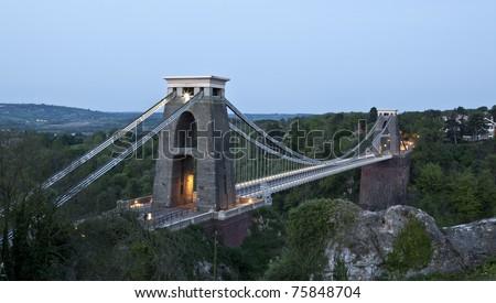 Bristol UK Clifton suspension bridge at dawn - stock photo