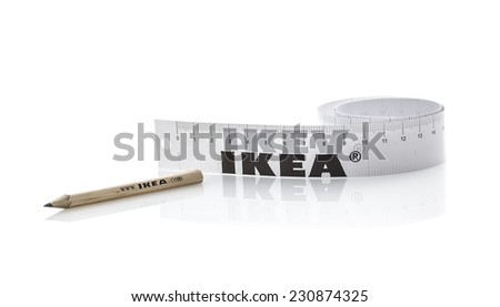 BRISTOL, UK - NOVEMBER 16, 2014: Ikea Pencil and Teap Measure on a White Background, Founded in Sweden in 1943, Ikea is the world's largest furniture retailer.  - stock photo
