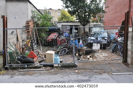Bristol, UK - October 22, 2010: View of a travellers camp on derelict land near the city centre.