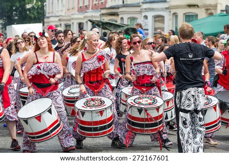 Bristol, UK. 5th July 2014. Drummer troupe at St. Paul's carnival - stock photo