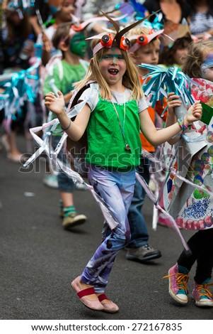 Bristol, UK. 5th July 2014. Young girl having fun at Bristol's St. Paul's Caribbean carnival - stock photo