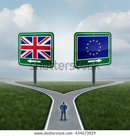 Britain European Union decision as a brexit concept and UK vote confusion or Euro zone dilemma as a person standing on a crossroad dilemma with flags on road signs with 3D illustration elements. - stock photo