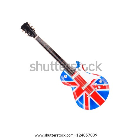 Britain flag guitar isolated on white background