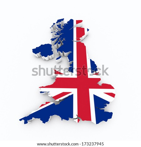 Britain flag on 3d map
