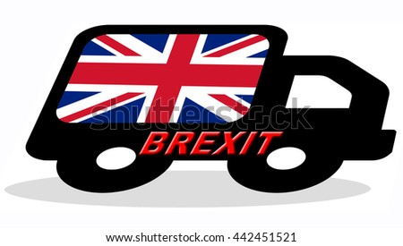 BRITAIN flag on the side of the silhouette of a truck with word BREXIT