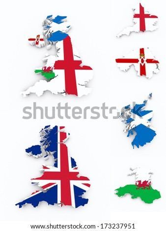 Britain flags on 3d map - stock photo