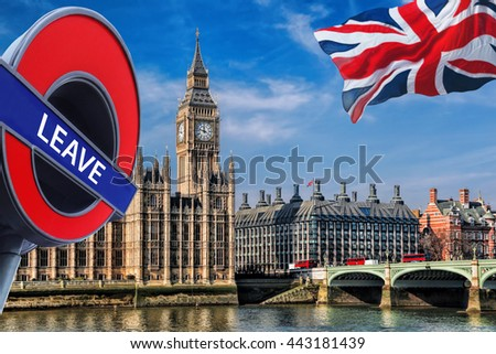 Britain votes to LEAVE European Union, Big Ben with flag of United Kingdom in London, England - stock photo