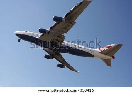 British Airways 747 landing with it's gears down.