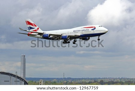 British Airways place approaching terminal 5 at Heathrow Airport in London - stock photo