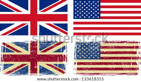British and American flags. Raster version, vector file available in portfolio.