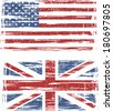British and American grunge flags. Raster version - stock photo