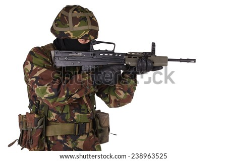 British Army Soldier in camouflage uniforms isolated on white