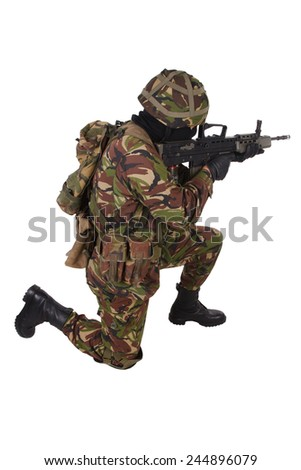 British Army Soldier in camouflage uniforms isolated on white - stock photo