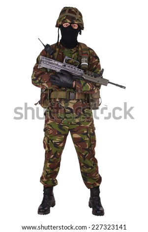 British Army Soldier isolated on white - stock photo
