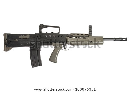 British assault rifle L85A1 isolated on a white background - stock photo