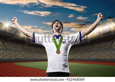 British Athlete Winning a golden medal on a Track and field stadium.