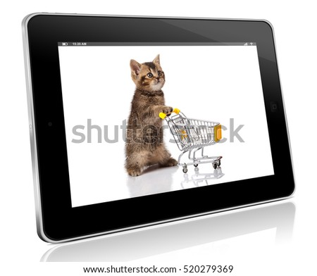 british cat with shopping cart isolated on white. pet shop concept. online shopping