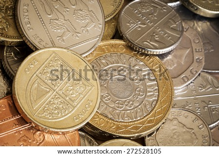 British coins in full frame background.  Overhead view. - stock photo