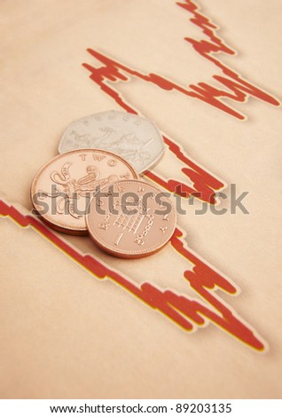 British coins lying on a fluctuating graph with space for copy - stock photo