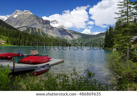 BRITISH COLUMBIA - CANADA MAY 30: Emerald Lake in Yoho National Park on May 30, 2016. Emerald Lake is the largest of Yoho's 61 lakes and ponds