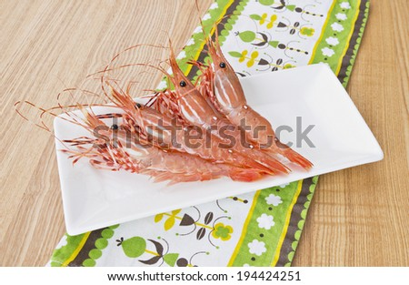 British columbia spot prawn background wood - stock photo