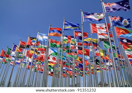 British Commonwealth and World national flags all over the world