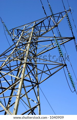 British electricity pylon carrying national grid high voltage cables