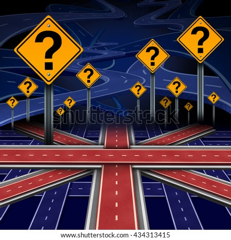 British European question as a brexit concept pertaining to the UK vote confusion and Euro zone and Europe membership decision as a group of roads shaped as the flag of Britain as a 3D illustration. - stock photo