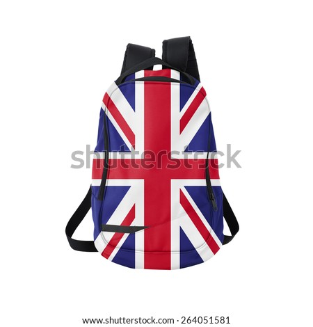 British flag backpack isolated on white background. Back to school concept. Education and study abroad. Travel and tourism in Great Britain - stock photo