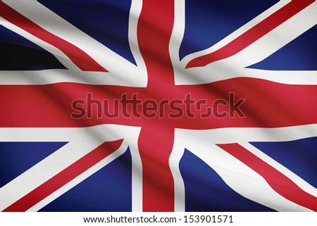 British flag blowing in the wind. Part of a series. - stock photo