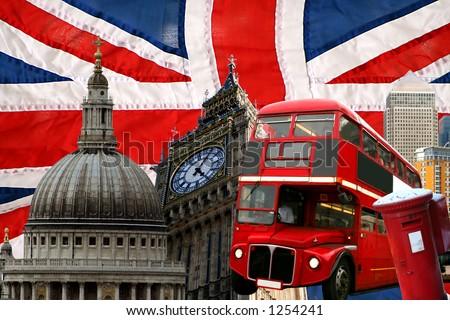 british flag close up - stock photo