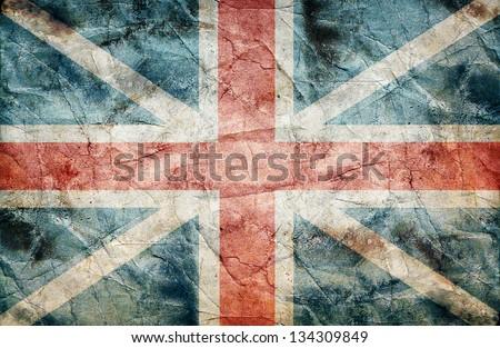 british flag grunge on old vintage paper - stock photo