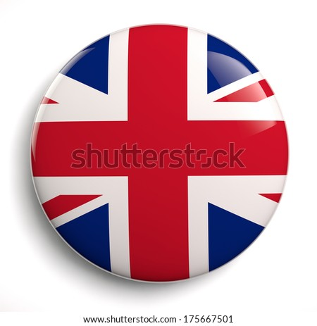 British flag icon. Clipping path included. - stock photo