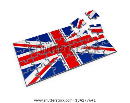British flag made of puzzles.Isolated on white.3d rendered. - stock photo