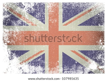 British flag with grunge aged effect ideal background - stock photo