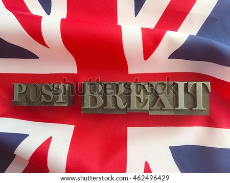 British flag with post Brexit words