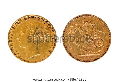 British gold sovereign of 1880 - stock photo